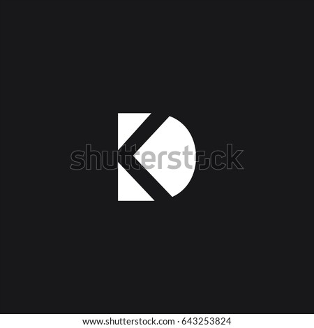 Creative unique symbolic connected tech brand black and white color KD K DK D initial based letter icon logo Stock fotó ©