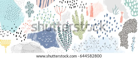 stock-vector-creative-universal-artistic-floral-background-hand-drawn-textures-trendy-graphic-design-for
