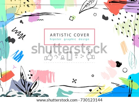 Creative universal floral artistic cover in trendy style.  Hipster graphic design for Greeting Cards, Wedding, Anniversary, Birthday, Valentin's day, Thank You,  Party invitations, Posters.  Vector
