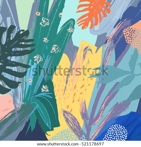 Creative universal floral background in tropical style. Modern graphic design. Hand Drawn textures. Ideal for web, card, poster, cover, invitation, brochure. Vector. Isolated.