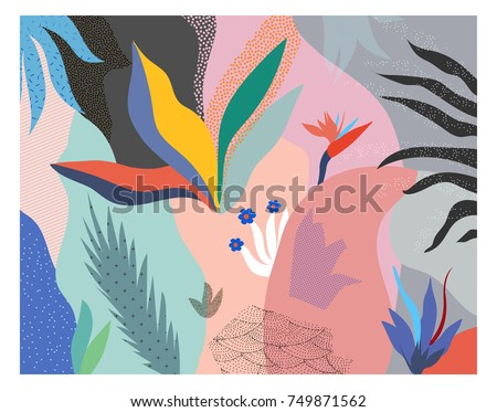 Creative universal floral header in tropical style. Modern graphic design. Hand Drawn textures. Ideal for web, card, poster, cover, invitation, brochure. Vector. Isolated.