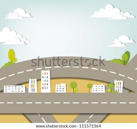 creative urban landscape. vector applique.