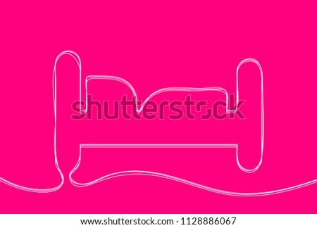 Creative vector bed. One line style illustration