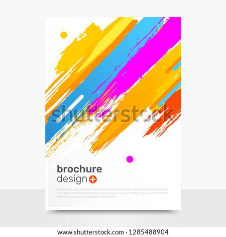 Stock Photo Creative Vector Brochure Design. Brushpaint Vector Brochure Mockup. Business Brochure Templates. EPS10