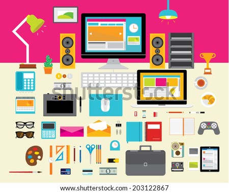 Creative Vector Design Elements for Business Office Workplace