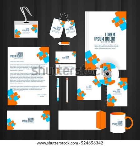 creative vector design templates for Office Stationery with creative illustration.