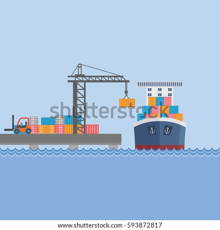 Creative vector detailed container ship at freight port terminal unloading Merchant marine background, boat, cranes, trucks. Ideal for web site or social media network cover profile image