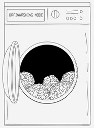 Creative vector illustration of a washing machine with brains inside, brainwashing mode on screen. Conceptual sarcastic funny artwork, drawing, sketch.