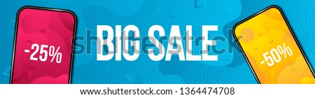 Creative vector illustration of big sale banner with phone isolated on transparent background. Art design black friday poster. Abstract concept graphic mobile discount offer promotion element.