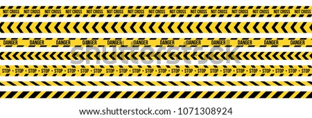 Creative vector illustration of black and yellow police stripe border. Set of danger caution seamless tapes. Art design line of crime places. Abstract concept graphic element. Construction sign.