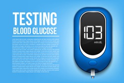 Creative vector illustration of blood glucose meter level test, diabetes glucometer isolated on transparent background. Art design medical device template. Abstract concept graphic web banner element