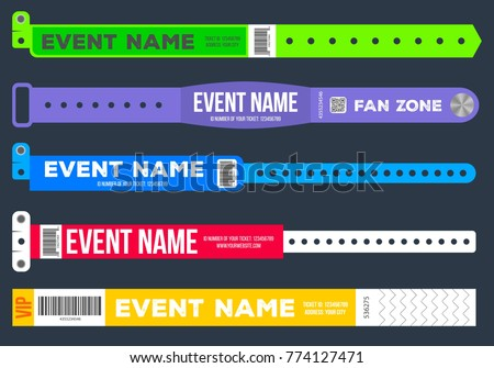 Creative vector illustration of bracelets for entrance to the event isolated on background. Art design. Abstract concept graphic element for concert fan zone, dancing club, party, music festival.