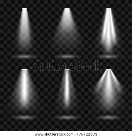 Creative vector illustration of bright lighting spotlights set, light sources isolated on transparent background. Art design beam for concert, scene illumination. Abstract concept graphic element.