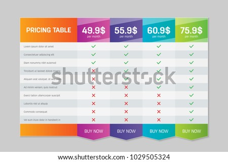 Creative vector illustration of business plans web comparison pricing table isolated on transparent background. Art design modern banner list. Abstract concept graphic websites, applications element