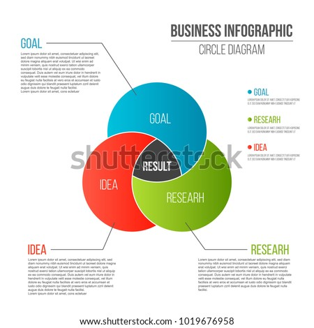 Creative vector illustration of business presentation slide template circle venn diagram isolated on transparent background. Art design infographic diagram chart. Abstract concept graphic element ストックフォト ©