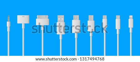 Creative vector illustration of cellphone usb charging plugs cable isolated on transparent background. Art design smart phone universal recharger accessories. Type-c interfaces, connect ports element