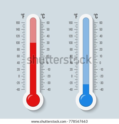 Creative vector illustration of celsius, fahrenheit meteorology thermometers scale isolated on background. Heat, hot, cold signs. Art design equipment. Weather temperature. Abstract concept graphic.