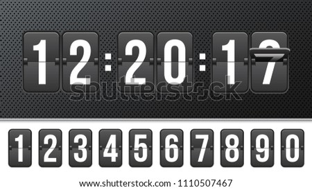 Creative vector illustration of countdown timer with different numbers isolated on background. Clock counter art design. Abstract concept graphic mechanical scoreboard panel element