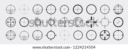 Creative vector illustration of crosshairs icon set. Art design. Target aim and aiming to bullseye signs symbol. Abstract concept graphic games shooters element. Vector