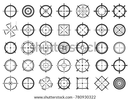 Creative vector illustration of crosshairs icon set isolated on transparent background. Art design. Target aim and aiming to bullseye signs symbol. Abstract concept graphic games shooters element.