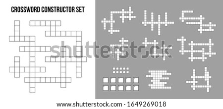 Creative vector illustration of crossword puzzle constructor, squares empty set isolated on background. Art design for magazine and newspaper template. Abstract concept graphic rebus game element Foto stock ©
