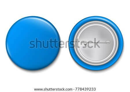 Creative vector illustration of 3d pin button isolated on transparent background. Front and back side. Art design blank badge brooch mockup template. Abstract graphic element with place for your text.