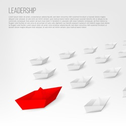 Creative vector illustration of 3d red paper ship leading among white isolated on background. Business leadership different boat art design . Abstract concept graphic element with copy space.