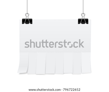 Creative vector illustration of empty blank sheet paper advertising with tear-off cut slips isolated on transparent background. Street art design copy space template. Abstract concept graphic element.