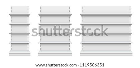 Creative vector illustration of empty store shelves isolated on background. Retail shelf art design. Abstract concept graphic showcase display element. Supermarket product advertising blank mockup