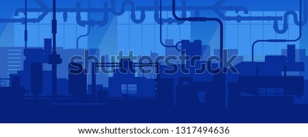 Creative vector illustration of factory line manufacturing industrial plant scen interior background. Art design the silhouette of the industry 4.0 zone template. Abstract concept graphic element