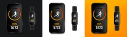 Creative vector illustration of fitness counter run app in phone and wrist band bracelet, activity tracker isolated on background. Art design smartphone template. Abstract concept graphic element