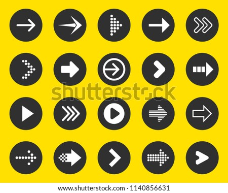 Creative vector illustration of flat simple colorful circle arrow set pointing in the right direction isolated on transparent background. Art design sign symbol icon. Abstract concept graphic element