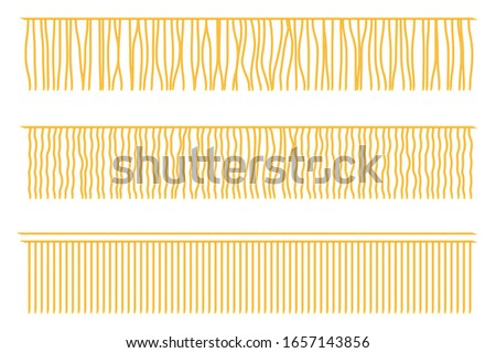 Creative vector illustration of fringe trim, garment frills, textile fringe, raw cloth edge isolated on transparent background. Design knotted fringe template. Abstract concept textile border element Stockfoto ©