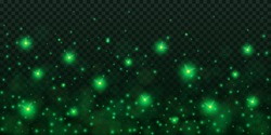 Creative vector illustration of glowing fireflies isolated on transparent dark background. Art design green glowing firefly template. Abstract concept sparks dust element, lightning bugs at night
