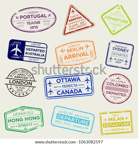 Creative vector illustration of international business travel visa passport stamp set isolated on transparent background. Art design variety rubber city arrival sign. Abstract concept graphic element.