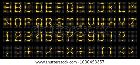 Creative vector illustration of led digital alphabet, font, electronic number digital display, letters, sign, symbols isolated on transparent background. Art design. Abstract concept graphic element