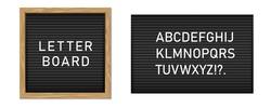 Creative vector illustration of letter board, letterboard for message, police mugshot banner, menu, sign, poster background. Design letter note board template. Changeable alphabet plate concept