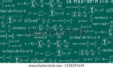 Creative vector illustration of math equation, mathematical, arithmetic, physics formulas background. Art design screen, blackboard template. Abstract concept graphic element