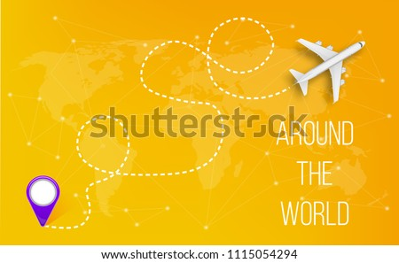 Creative vector illustration of plane with dashed path lines isolated on background. Art design airplane sky route. Abstract concept graphic element for air transportation presentation