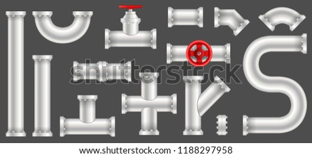 Creative vector illustration of plastic water, oil, gas pipeline, pipes sewage isolated on transparent background. Art design abstract concept graphic ells, gate valve, fittings, faucet element