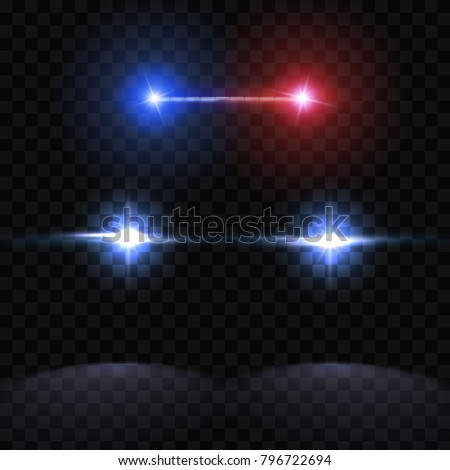 Creative vector illustration of police car silhouette headlights, blinking isolated on transparent background. Glowing headlamp. Red, blue siren lights. Art design. Abstract concept graphic element.