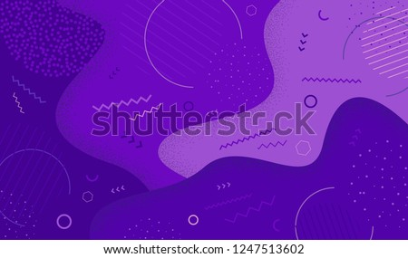 Creative vector illustration of purple  in memphis 80s-90s style. Abstract graphic pattern overlay colorful spotty of geometric shape. EPS 10.