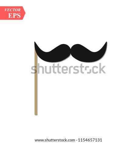 Creative vector illustration of realistic black mustaches on plastic stick isolated on transparent background. Retro vintage art design. Fashionable old facial hair. concept graphic element. eps10