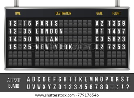 Creative vector illustration of realistic flip scoreboard, arrival airport board with alphabet, numbers isolated on transparent background. Art design. Analog timetable font. Concept graphic element.