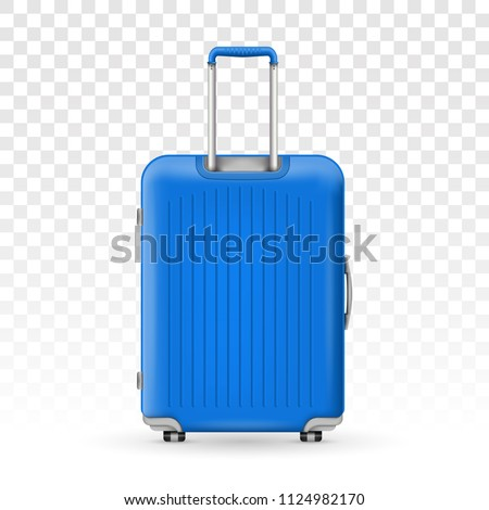 Creative vector illustration of realistic large polycarbonate travel plastic suitcase with wheels isolated on transparent background. Art design traveler luggage. Abstract concept graphic element
