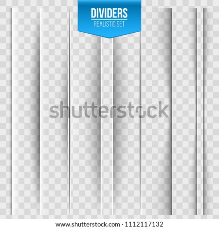Creative vector illustration of realistic paper shadow dividers isolated on transparent background. Art design effect set. Abstract concept graphic element