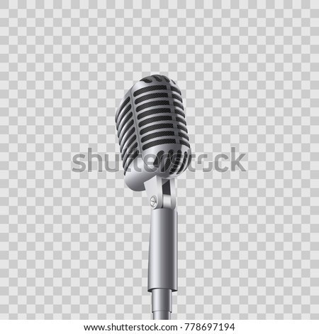 Creative vector illustration of retro vintage concert microphones on stand isolated on transparent background. Art design. Abstract concept graphic music element.