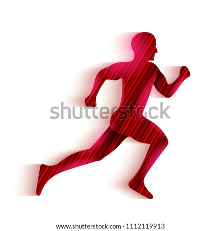 Creative vector illustration of running man silhouette logo. Art design icon pictogram. Abstract concept graphic element. Motion dynamic lines logotype