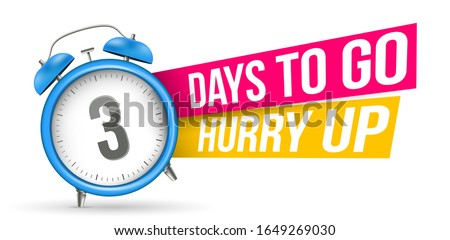 Creative vector illustration of sale countdown badge, alarm clock. Design sale slogan background - Days to go, hurry up template. Abstract concept last minute, hour, week offer banner, promo element Stock photo ©