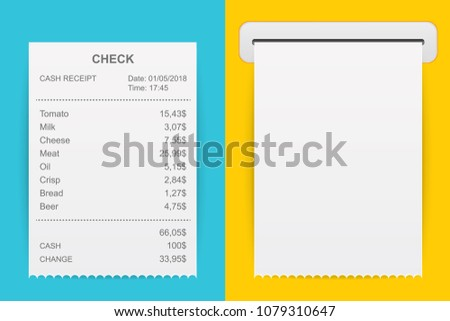 Creative vector illustration of sales printed receipt. Art design bill atm check. Abstract concept graphic financial element. Isolated on background mockup document list